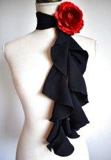 画像2: 《即納品》スカーフ、スパイラル、ジョーゼット生地無地、黒 (2)
