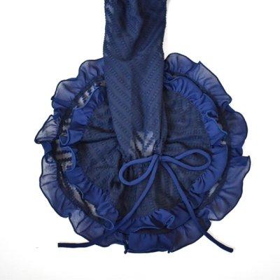 画像1: ¥ご奉仕価格設定中《即納品》織模様入り生地で作ったふりふりブラウス、ネイビー
