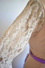 画像11: 《即納品》ツーピースドレス、オートミール×ラベンダーカラー (11)