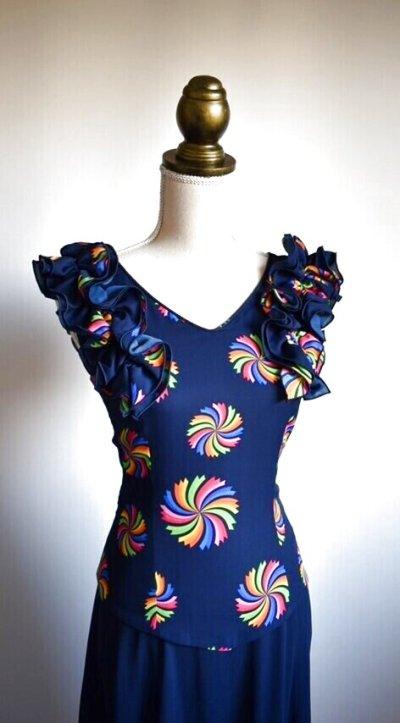 画像1: 《即納品》ネイビー色ドレス