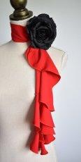 画像1: 《即納品》スカーフ、スパイラル、ジョーゼット生地無地、レッド (1)