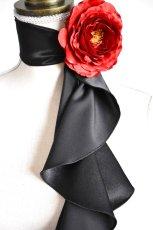 画像2: 《即納品》スカーフ、スパイラル、サテン、ブラック (2)
