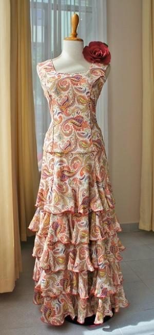 画像1: 《オーダーメイド》ツーピースドレス、ブラウス前身頃パイピング仕様 (1)