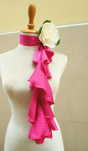 画像1: 《即納品》スカーフ、スパイラル、マゼンタピンク、ストライプ織模様 (1)