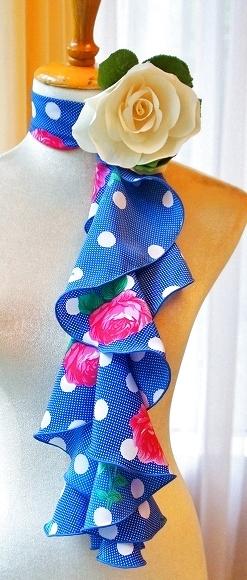 画像1: スカーフ、スパイラル、ブルー (1)
