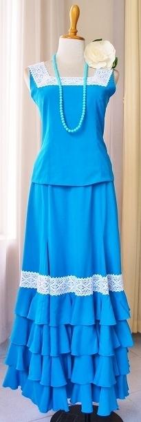 画像1: 【オーダーメイド】ツーピースドレス、レース飾り (1)