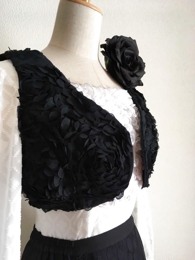 画像1: 《再入荷》チャレコ、立体バラ、ブラック (1)