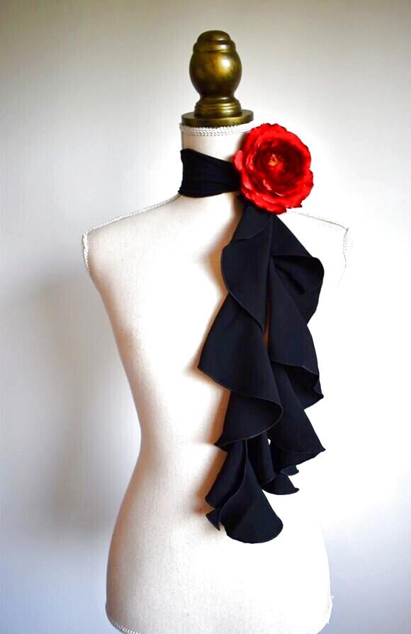 画像1: 《即納品》スカーフ、スパイラル、ジョーゼット生地無地、黒 (1)