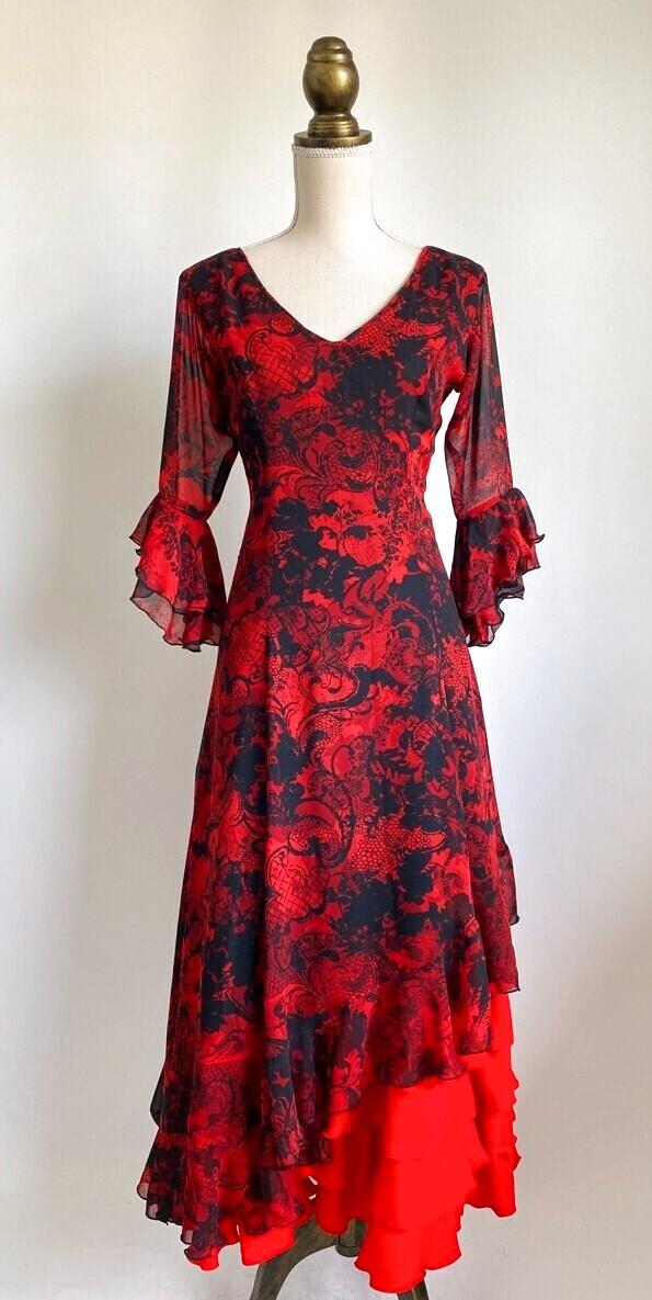 画像1: フラメンコドレス、フレアにカットがあるタイプ (1)