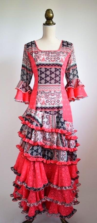 画像1: フラメンコドレス、テーラーメイドの1点もの♪ Lサイズ (1)