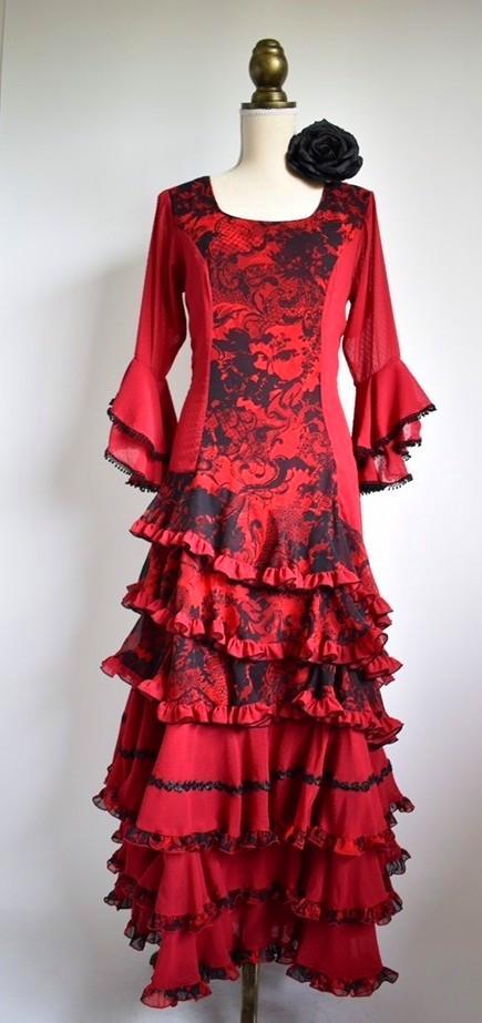 画像1: 《即納品》ワンピースドレス、世界に一つの1点物♫えんじ×ブラック、Lサイズ身長162〜166cmくらい (1)