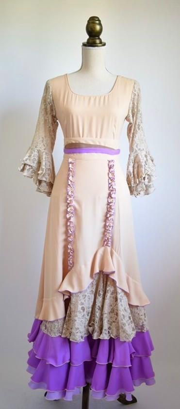 画像1: 《即納品》ツーピースドレス、ベージュ×ラベンダーカラー (1)