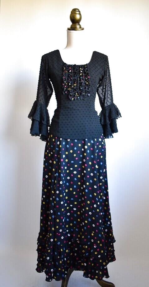 画像1: 《即納品》ツーピースドレス、ブラック、Mサイズ (1)