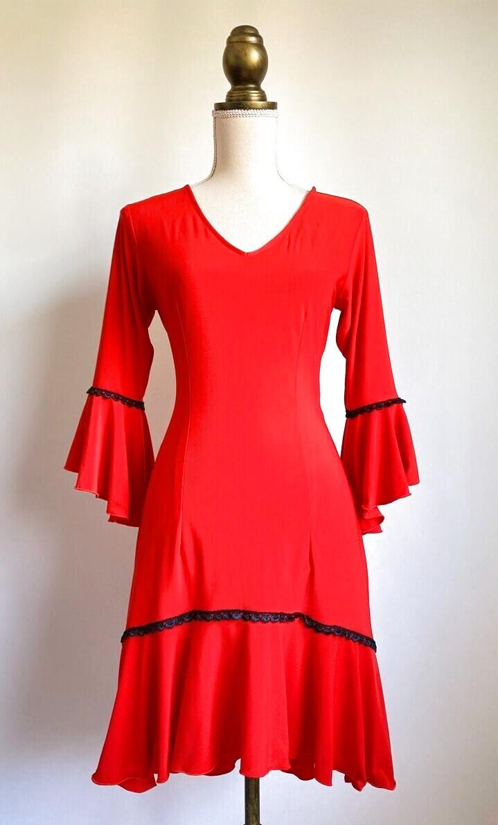 画像1: 《即納品》フラメンコ・チュニック、赤×黒レース飾り (1)