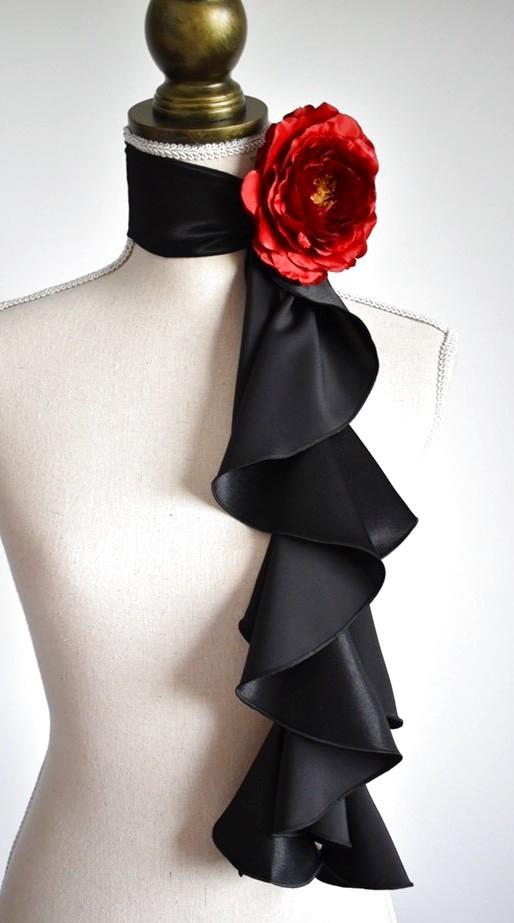 画像1: 《即納品》スカーフ、スパイラル、サテン、ブラック (1)