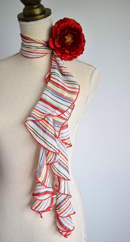 画像1: 《即納品》スカーフ、スパイラル、ストライプ (1)