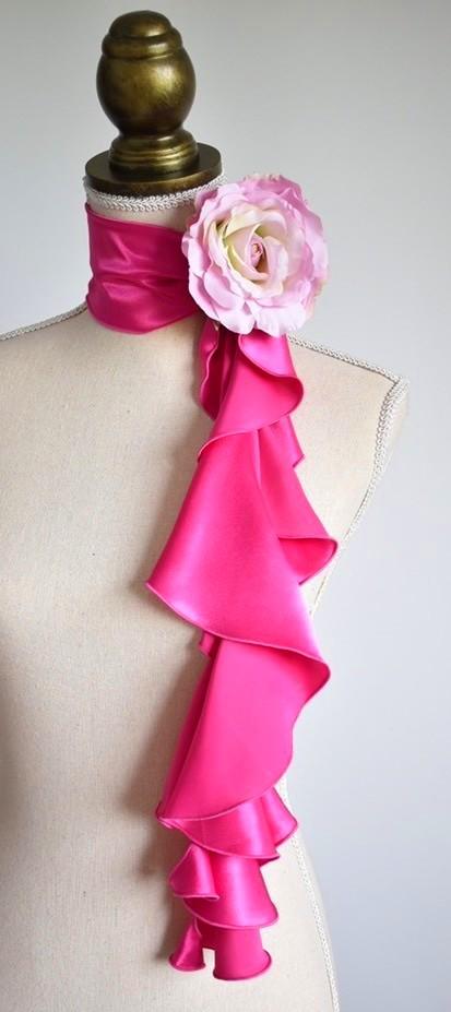 画像1: 《即納品》スカーフ、スパイラル、サテン、ピンク (1)