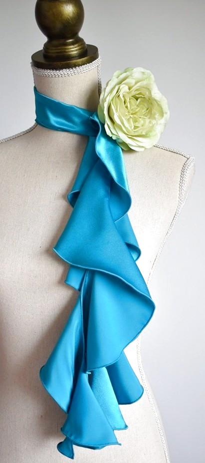 画像1: 《即納品》スカーフ、スパイラル、ターコイズ (1)